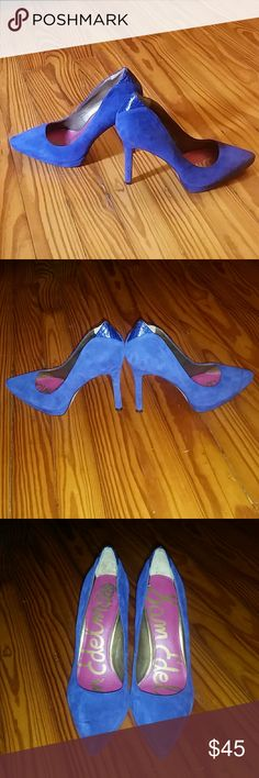Sam Edelman Celia Pump Cobalt blue💙 Sam Edelman leather Celia pump cobalt blue worn once snakeskin cut out and Print in the back of heel Great Condition Sam Edelman Shoes Heels