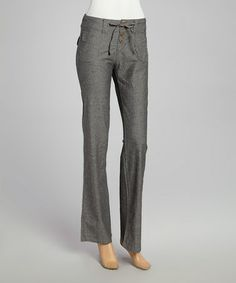 Loving this Black Drawstring Straight-Leg Pants on #zulily! #zulilyfinds