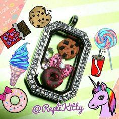 Custom sweet locket set, handmade by RepliKitty! Request your custom set at www.replikitty.etsy.com #cookies #donuts #kawaii