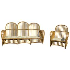 cottage? Antique Stick Wicker/Rattan Set | From a unique collection of antique and modern living room sets at http://www.1stdibs.com/furniture/seating/living-room-sets/