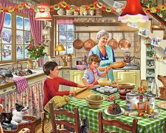 Get in the festive mood with this beautiful Christmas Treats 1000 piece jigsaw puzzle by Gibsons. Granny and the children are baking Christmas cakes! Christmas Jigsaw Puzzles, Christmas Puzzle, Christmas Art, Christmas Treats, Vintage Christmas, Christmas Pictures, Christmas Baking, Christmas Pudding, Holiday Baking