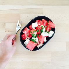 The tastiest and easiest summer salad.  Recipe: 500 grams of watermelon 200 grams of Feta Mint  Chop. Mix. Sprinkle with mint and enjoy. (Serve in a bowl, or alternatively on skewers). Serves: 4 Cals: 180 cals / serve