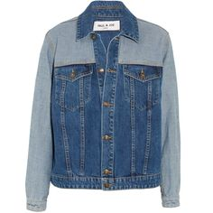 Paul & Joe Patchwork denim jacket ($245) ❤ liked on Polyvore featuring outerwear, jackets, blue jackets, denim jacket, patchwork jacket, boyfriend denim jacket and boyfriend jean jacket