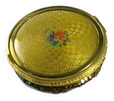 Vintage Mesh and Celluloid Ladies Powder Compact from The Vintage Jewelry Boutique Exclusively on Ruby Lane