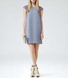 Womens Blueberry Lace Detail Shift Dress - Reiss Hattie Lace
