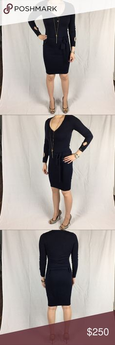 LBD Navy Sweater Dress from Neiman Marcus Size: XS. Runs true to size Color: Navy with black and gold buttons Material: 54% silk/41% cotton/5% cashmere. High quality knit is light weight and very soft Condition: Good. A little pilling under the arms (see 6th picture)  Description: Gorgeous navy sweater dress! The pictures don't do it justice. Keyhole detail at wrist. I get tons of compliments every time I wear it but sadly it is a little warm to wear in Texas.  LBD brand purchased from…