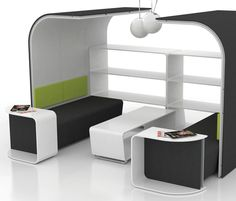 MeetYou is a free-standing, acoustically sound partitioning by Haworth. Informal team meetings are encouraged by the product's enveloping form.