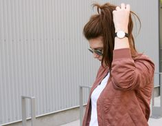 A Dusty Rose Bomber Jacket and a Quick Coffee Run  www.theemmark.com  #fallfashion #blogger