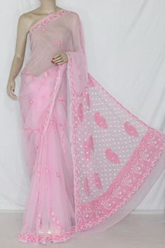 Pink Color Hand Embroidered Lucknowi Chikankari Saree  (With Blouse - Georgette) 14313