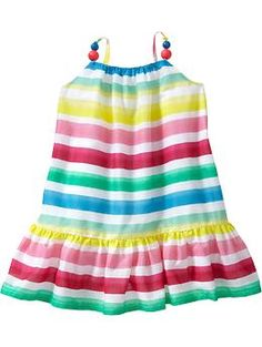 Multi-Stripe Gauze Dresses for Baby.  Perfect for Maille's birthday party theme!