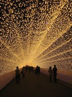 Japan, Nagano Hotel, tunnel of lights.