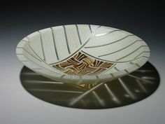 Amber Feathers Bowl: Patti & Dave Hegland: Art Glass Bowl - Artful Home