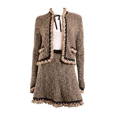 Chanel 04A Brown Scalloped Trimmed Knit Skirt Suit FR 34 US 2 | From a collection of rare vintage suits, outfits and ensembles at https://www.1stdibs.com/fashion/clothing/suits-outfits-ensembles/