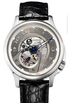 Chopard men's wristwatch w/ gunmetal face, navy-trimmed hands, chrome bezel & abutments, black leather band