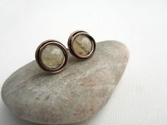Citrine Wire Wrapped Copper Stud Earrings November by JustynaSart