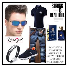 """ROSEGAL 39/1"" by deyanafashion ❤ liked on Polyvore featuring Versace, vintage, men's fashion and menswear"