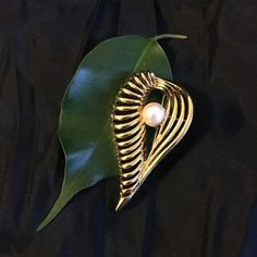 Gold and Pearl Leaf Brooch Artsy Open Scrolled Leaf Shaped Pin With Faux White Pearl Vintage Modern Style Elegant Leaf Jewelry Scarf Pin by PamsPawsJewelry on Etsy