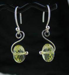 Yellow Gemstone Wired Earrings, Lemon Quartz Earrings, Yellow Stone Wire Jewelry, Yellow Silver Earrings, Yellow Gemstone Jewelry Handmade