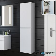 Gloss White 1400mm Tall Wall Mounted Cabinet - Trent | BathEmpire