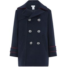 Monsoon Noel Navy Pea Coat (2,060 THB) ❤ liked on Polyvore featuring outerwear, coats, double breasted coat, navy blue peacoats, navy military coat, military pea coat and blue peacoat