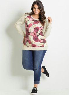 Blusa Moletom Floral Plus Size Bege e Estampada - Posthaus