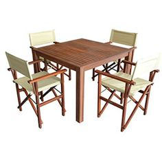 FIVEMORE | 4-Seater Square Table and Directors Chair Set - Furniture - 5rooms.com
