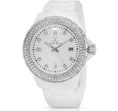 $64.99 ToyWatch Plasteramic Case White Dial Quartz Movement Swarovski Crystal Ladies' Bracelet Watch