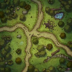 Battle Map for Dungeons & Dragons and Pathfinder Fantasy City Map, Fantasy World Map, Dungeon Tiles, Dungeon Maps, Vintage Maps, Antique Maps, Dnd World Map, Forest Map, Pathfinder Maps