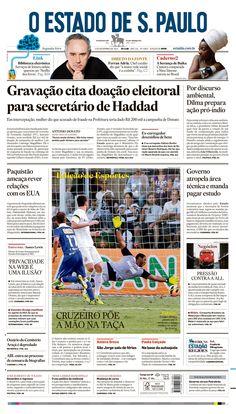 Primeira página do O Estado de S. Paulo em 4 de novembro de 2013. Principal notícia: Gravação cita doação eleitoral para secretário de Haddad http://oesta.do/1b6h4a2