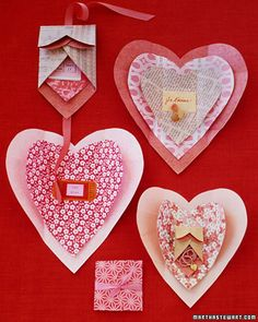 Paper Heart Wrappings  Opening a mysterious gift packet is even more thrilling when the wrapping itself turns out to be a beautiful valentine. Start by selecting decorative papers; origami paper is best because it folds neatly and easily. Other papers can be used, as long as they aren't too heavy or stiff to fold crisply. Also consider double-sided papers, since both sides will be visible.