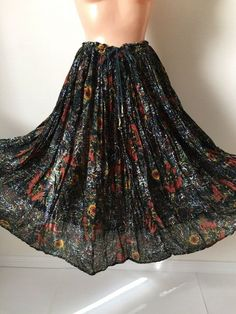 88e5d9a00 Vintage Sheer Gauzy Cotton India Midi Skirt Black Sunflower Gypsy Boho  Prairie | eBay