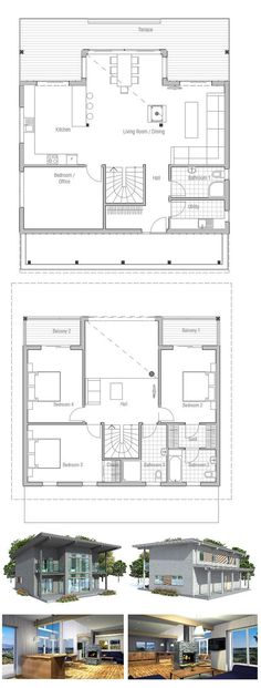 Small house plan with small building area. Balconies on the second floor. Small home design with open planning. Floor plan.
