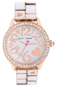 Think my mom might like this one if it came in a smaller face size: Betsey Johnson Round Bracelet Watch no longer available in stores.