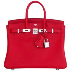 Pre-owned Hermes Vermillion Lipstick Red 25cm Swift Birkin Satchel Bag... ($24,500) ❤ liked on Polyvore featuring bags, handbags, handbags and purses, hermes birkin bags, top handle bags, leather satchel purse, hand bags, leather satchel, hermes purse and leather hand bags
