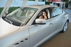 Italian showgirl Elisabetta Gregoraci in the #Maserati #newQuattroporte at #Venezia70