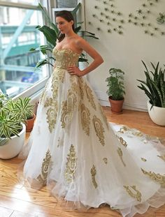 Gold Lace Strapless Ballgown Wedding Dress by WeekendWeddingDress