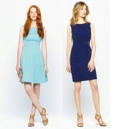 Los tonos azules ayudan a las pieles de tonos fríos a resaltar. Adolfo Dominguez propone estos vestidos de cortes verticales y drapeados que asiluetan la figura.