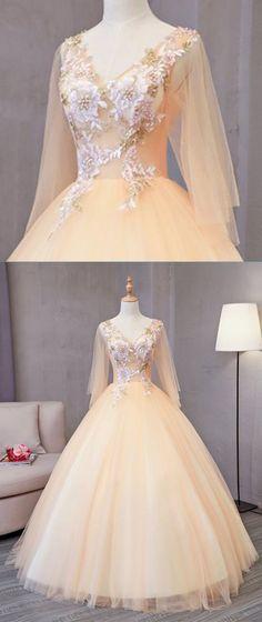 Champagne tulle V neck mid sleeve long 3D lace appliqued senior prom dress, long evening dress #promdress #prom #dress #weddingdress