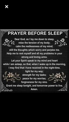 Prayer before sleep Prayer Scriptures, Bible Prayers, Faith Prayer, God Prayer, Prayer Quotes, Faith Quotes, Spiritual Quotes, Bible Quotes, Bible Verses