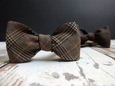 Bow Tie for Men by BartekDesign self tie classic brown double sided plaid tartan