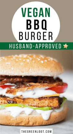 This Vegan BBQ Tofu Burger is a super easy, but insanely delicious vegan burger recipe that's perfect for grilling, July or any Summer parties/dinners. Vegan Recipes Beginner, Vegan Lunch Recipes, Vegan Meal Prep, Delicious Vegan Recipes, Burger Recipes, Tofu Recipes, Free Recipes, Tofu Burger, Bbq Tofu