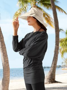 "Solumbra by Sun Precautions Islamorada Cover-Up UPF 100. [some of their hats feature a 6"" brim and typically have a cinch-cord for assured sun protection of face and neck / usually cost ~$50-60]"
