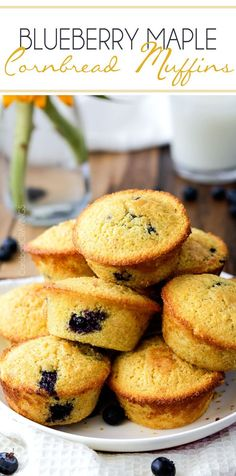 Blueberry Maple Cornbread Muffins  - 25 minute Start to Finish buttery, moist cornbread muffins infused with sweet maple and bursts of blueberries.  Perfect for brunch, potlucks. etc.  You will never go back to regular cornbread again! #cornbread #muffins #cornbreadmuffins #blueberry #maple