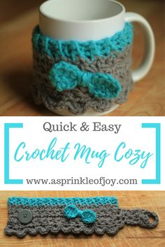 A quick and easy crochet mug cozy using the star stitch.