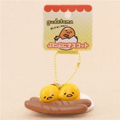 cute Gudetama egg yolk with sausage squishy charm kawaii