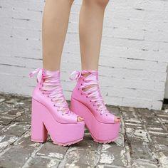 Super kawaii pink pastel lace up boots.