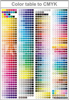 Illustration of Color table Pantone to CMYK. Color print test page. Illustration CMYK colors for print. Vector color palette vector art, clipart and stock vectors. Cmyk Color Chart, Pantone Color Chart, Color Mixing Chart, Pantone Colour Palettes, Color Charts, Pantone Cmyk, Skin Color Palette, Palette Art, Color Palette Challenge