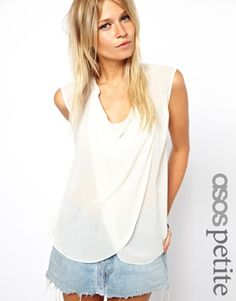Buy ASOS PETITE Sleeveless Blouse With Detail Front And Drop Neck at ASOS. With free delivery and return options (Ts&Cs apply), online shopping has never been so easy. Get the latest trends with ASOS now. Petite Outfits, Petite Dresses, Cute Outfits, Asos Tops, Asos Petite, Work Tops, Sheer Chiffon, Black Blouse, Sleeveless Blouse