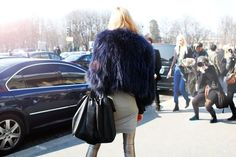 Silver pants and fur coat