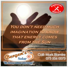 Power is essential which makes our service essential, we are open for business, just one call away and in your area. All precautions are being taken to prevent any contamination. Equipment and staff are sanitising regularly as per the Covid 19 guidelines. #poweredbysolar #solarpower #bergens #solar #solarsolution #solarrepairs #solarmaintenance #essentialservice #southafrica #solargeyser #power #bergenssolar #gogreen Call Mark for a Quote Phone: 073 556 0073 Email: mark@bergens.co.za Solar Energy, Solar Power, Solar Geyser, One Call Away, Solar Solutions, Business, Quotes, Qoutes, Quotations